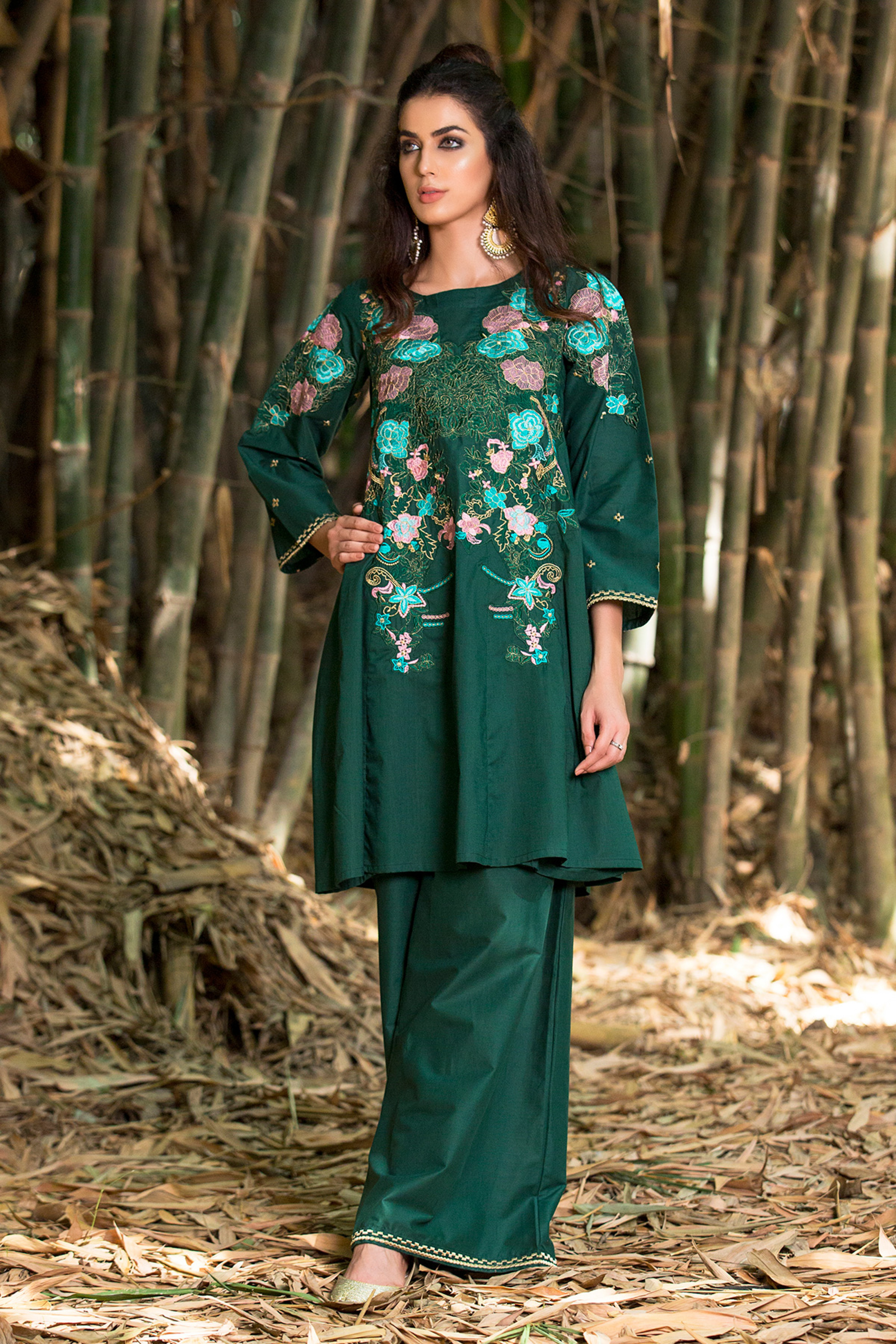 Embroidered Cambric Shirt With Plazo Trouser
