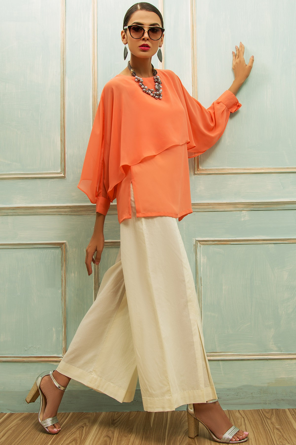 CHIFFON TOP WITH BOTTOM - Sale
